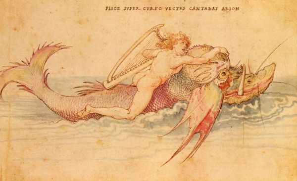 Arion riding a Dolphin, by Albrecht Dürer circa. 1514