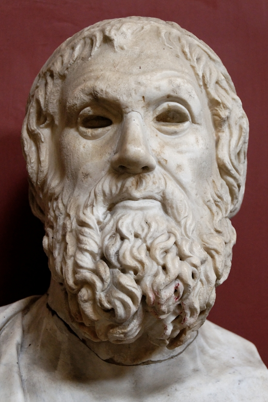 Bust of Sophocles of the Farnese type. Marble, Roman copy after a Greek original of the 4th century BCE