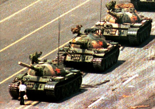 Unknown man confronts tanks in Tiananmen Square, Beijing, 1989