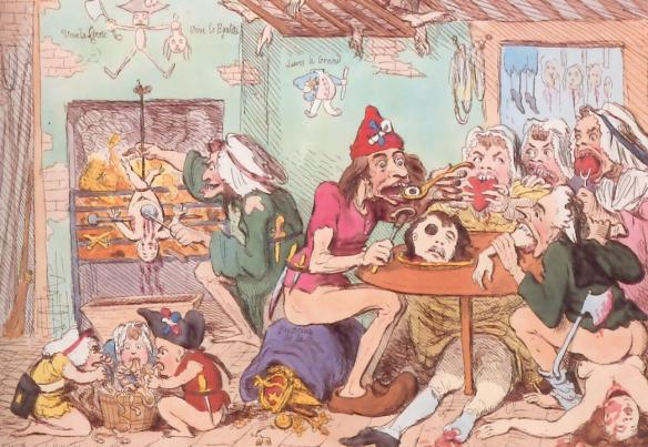 """A Family of Sans-Culottes refreshing after the fatigues of the day"", English cartoon from the 1790s"