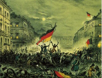 Fighting on the Barricades, Berlin, 18 March 1848. Detail from lithograph by unknown artist.