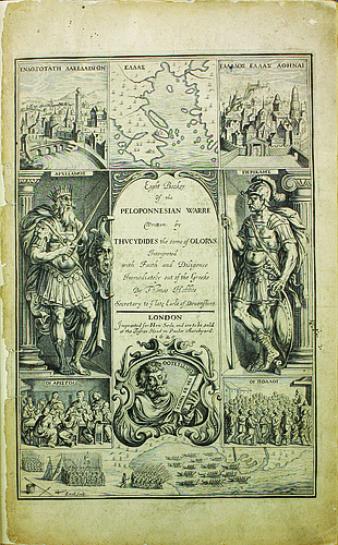 Title Page of Thomas Hobbes' 1629 translation of Thucydides