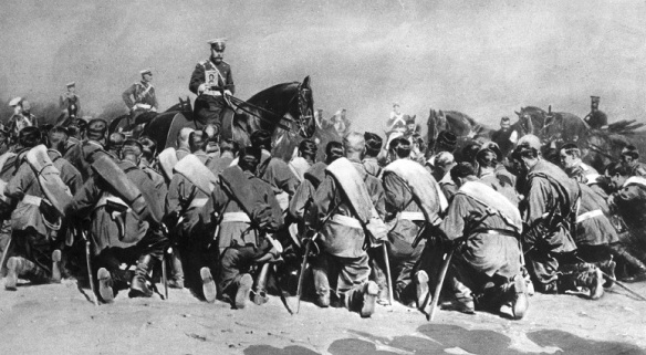 Emperor Nicholas II blesses his troops departing for the Eastern Front in 1914
