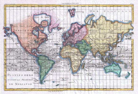 Rigobert Bonne and G. Raynal's 1780 map of the world on a Mercator Projection.