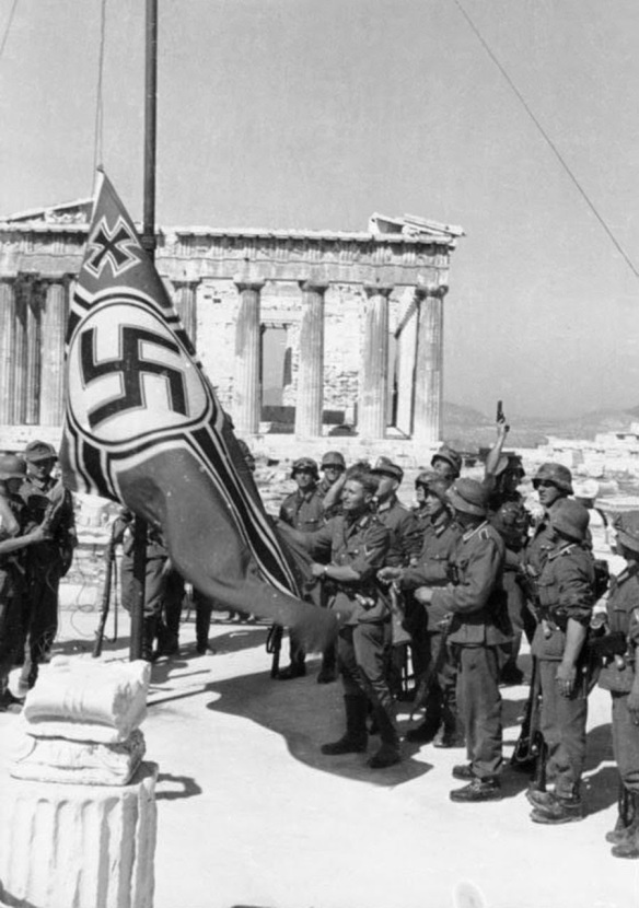 The swastika is raised over the Acropolis, 1941