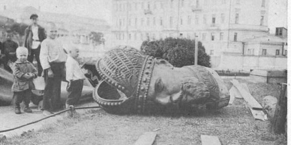 Toppled statue of Alexander III