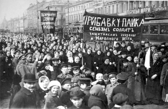 Striking workers in Petrograd, February 1917