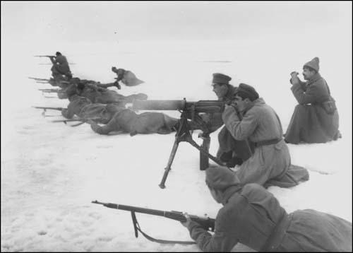 The Red Army crosses the ice to suppress the Kronstadt uprising