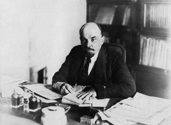 Lenin at his desk in the Kremlin